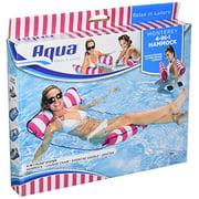 """Aqua 4-en-1 Monterey Hammock flotteur de piscine gonflable portatif polyvalent, rayure rose, 10,25 """"x 11,5"""" x 1,5 """""""