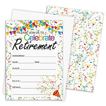 Retirement Party Invitations with Self-Sealing Envelopes, 25 Count