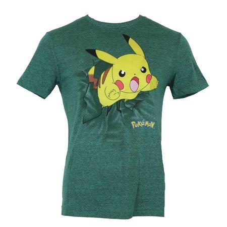 Pokemon Mens T-Shirt -  Pikachu Busting Through Atack Jump