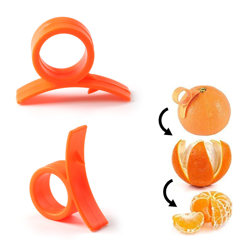 2 Pc Orange Peeler Tool Plastic Citrus Cutter Gadget Lemon Fruit Slicer Remover