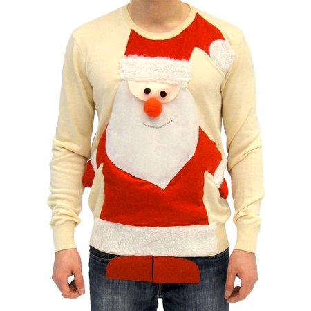 Ugly Christmas Sweater Santa Claus Full Body Adult Beige - Adult Ugly Christmas Sweater