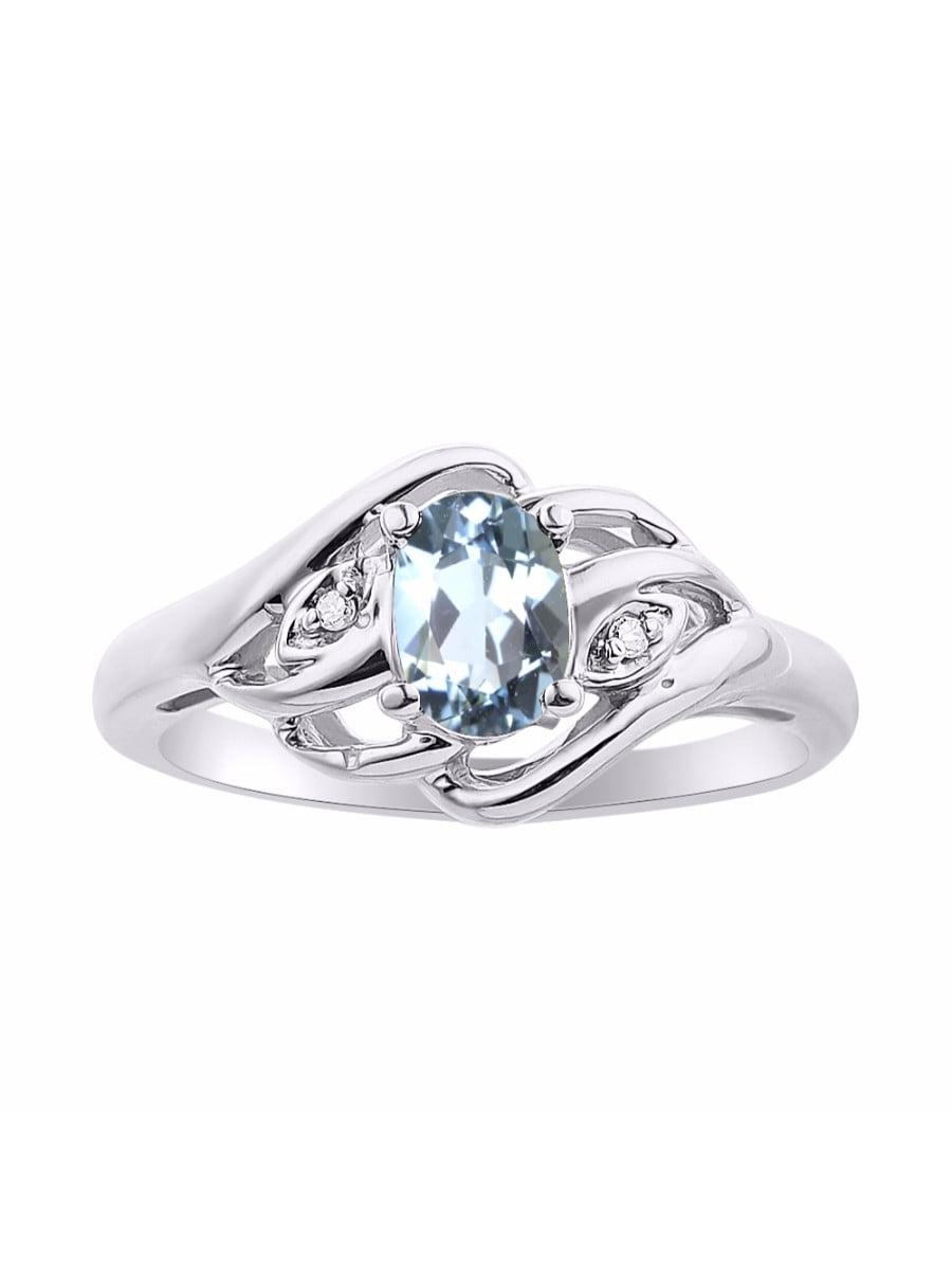 Diamond & Aquamarine Ring Set In 14K White Gold Birthstone LR6424AQW-D by Rylos