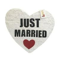 "APINATA4U Just Married Wedding Heart Pinata 19"" Tall White Color"