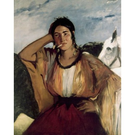 Gypsy with a Cigarette (Indian Woman Smoking) Edouard Manet (1832-1883French) Oil on canvas Princeton University Art Museum New Jersey Canvas Art - Edouard Manet (18 x 24) ()
