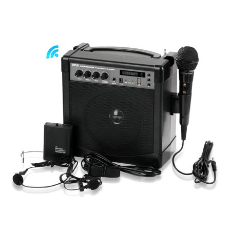 PYLE PWMA220BM - Portable Karaoke PA Speaker Amplifier & Microphone System, Bluetooth Wireless Streaming, Built-in Rechargeable Battery (Includes Belt Pack Transmitter, Headset, Lavalier & Wired Handh