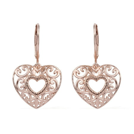 925 Sterling Silver 14K Rose Gold Plated Dangle Drop Heart Earrings Gift Jewelry for Women ()