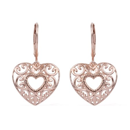925 Sterling Silver 14K Rose Gold Plated Dangle Drop Heart Earrings Gift Jewelry for Women