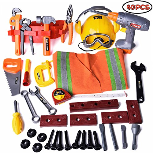 Construction Tools for Kids Toy Set Handy-man Pretend Play Set Role Costume with Hard Hats Tool Belt and Accessories 40 PCs F-150