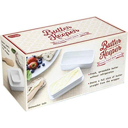 Talisman Designs ceramic Butter Keeper, White