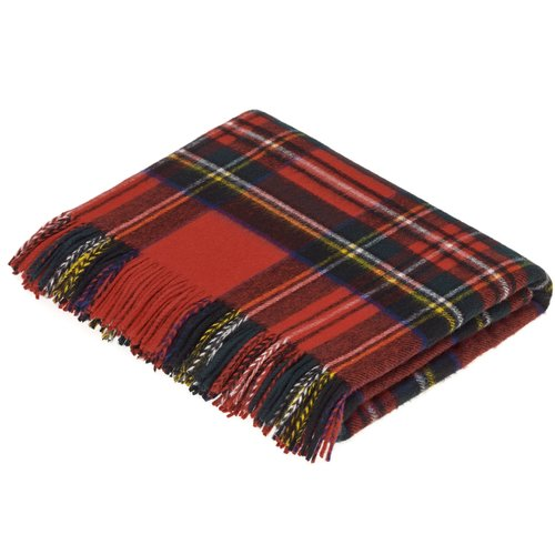 Gracie Oaks Brunell Merino Lambswool Natural Dress Stewart Tartan Throw