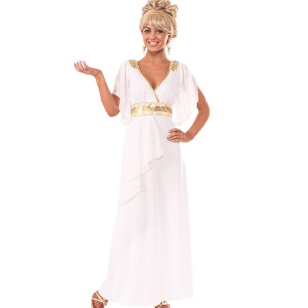 Roman Greek Goddess Toga Grecian White Gold Adult Halloween Costume Womens-Std (Adult Greek Goddess Costume)