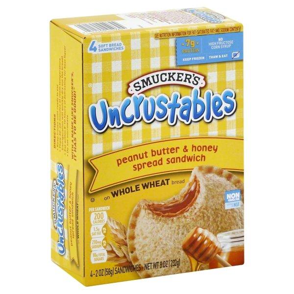 Smucker's Uncrustables Peanut Butter & Honey Spread Sandwich, 4-Count