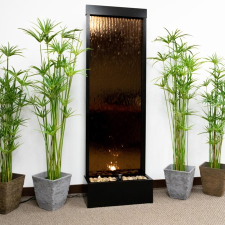 Alpine Corporation Mirror Waterfall Fountain with Stones and