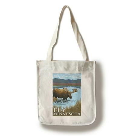 Ely, Minnesota - Moose and Lake - Lantern Press Poster (100% Cotton Tote Bag - (Lace Lantern)