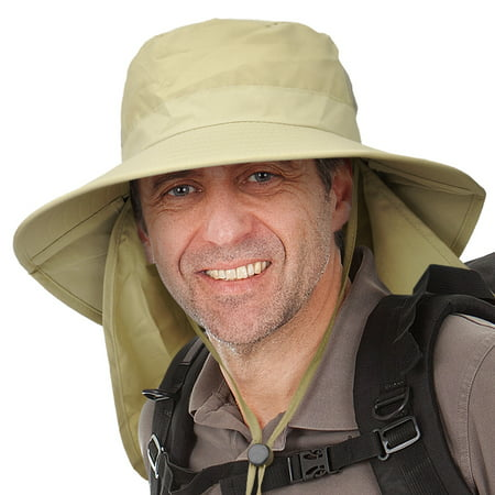 Men's Sun Protection Hat with Neck Flap Cover,Wide Brim Outdoor Fishing Hiking Camping Hunting Boating Safari Gardening Working