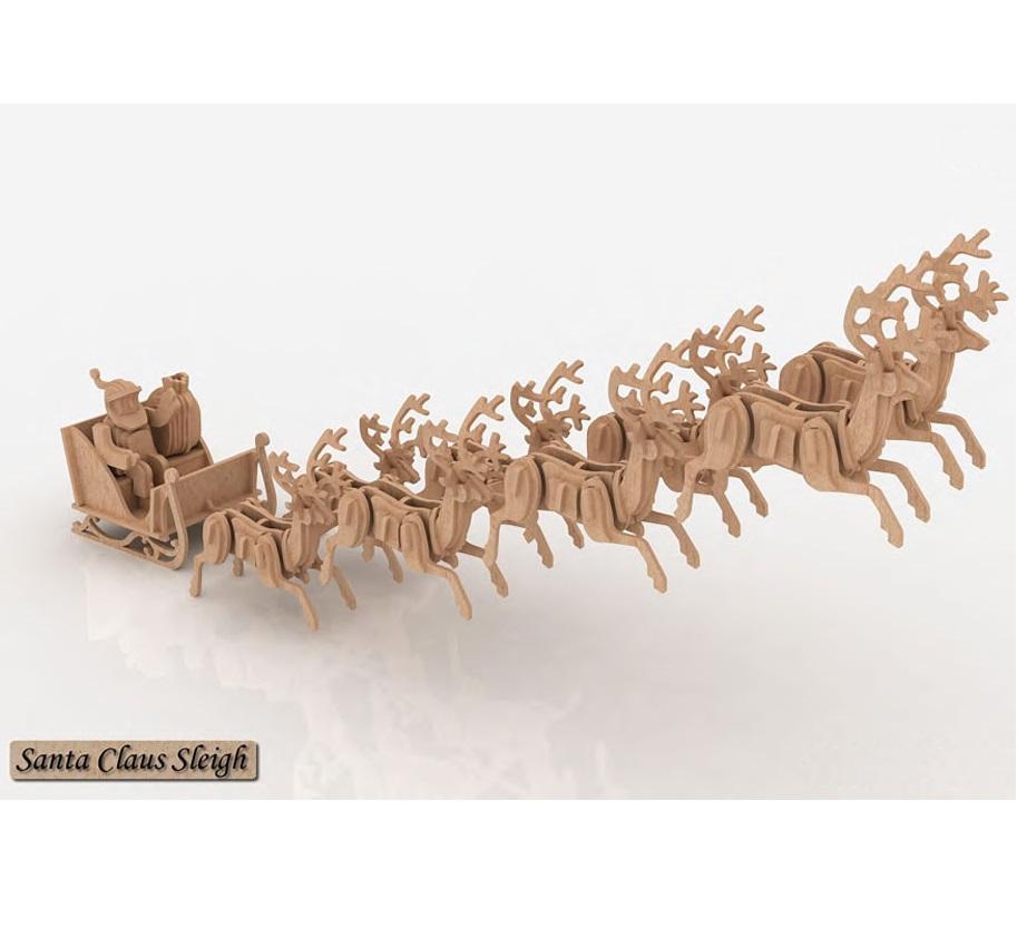 Santa Claus Sleigh - 3D Jigsaw Woodcraft Kit Wooden Puzzle