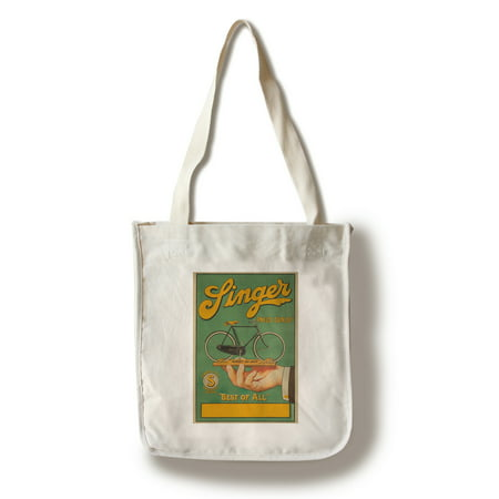 Singer Pneus Dunlop Vintage Poster France (100% Cotton Tote Bag - Reusable)