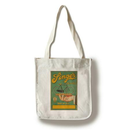 Singer Pneus Dunlop Vintage Poster France (100% Cotton Tote Bag - Reusable)