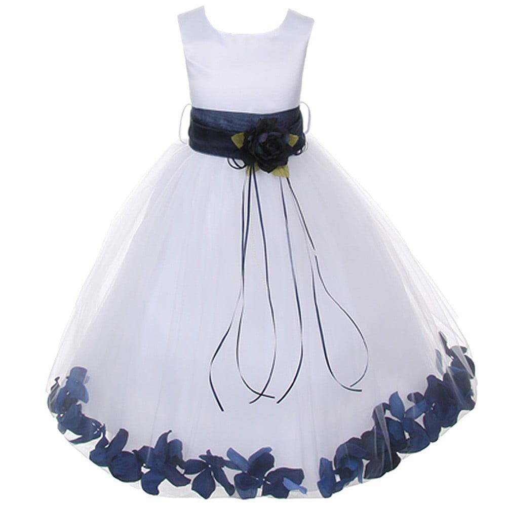 Kids Dream Kids Dream Little Girls White Satin Navy Petal Flower
