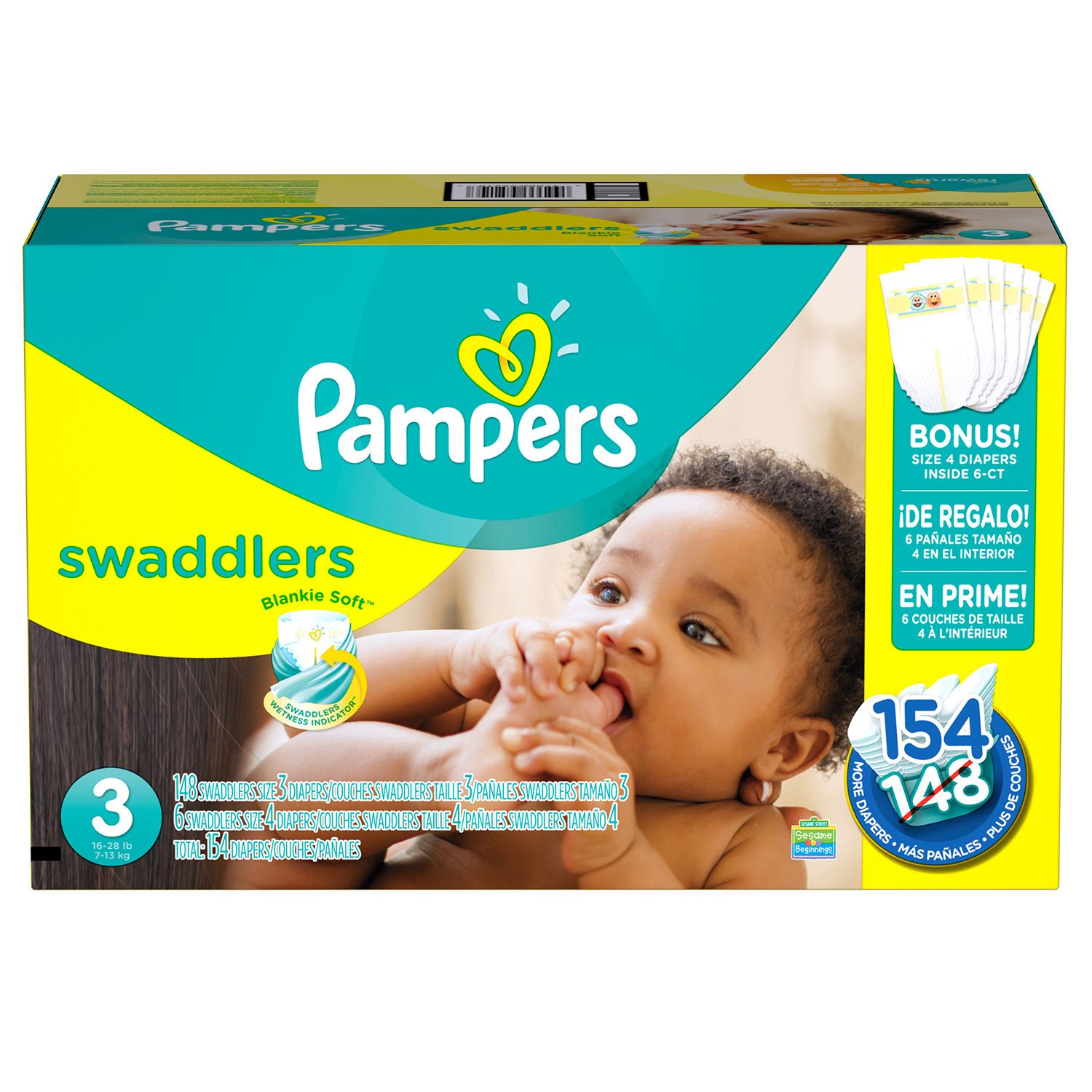 Procter & Gamble Pampers Swaddlers Diapers (Size 3, 154 ct.)
