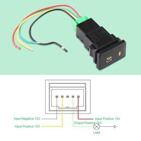 Ejoyous DC 12V 4 Wire Car Foglight Switch Fog Light On-Off Button For Toyota Yellow Indicator, Foglight Switch For Toyota,Foglight Switch - image 4 de 10