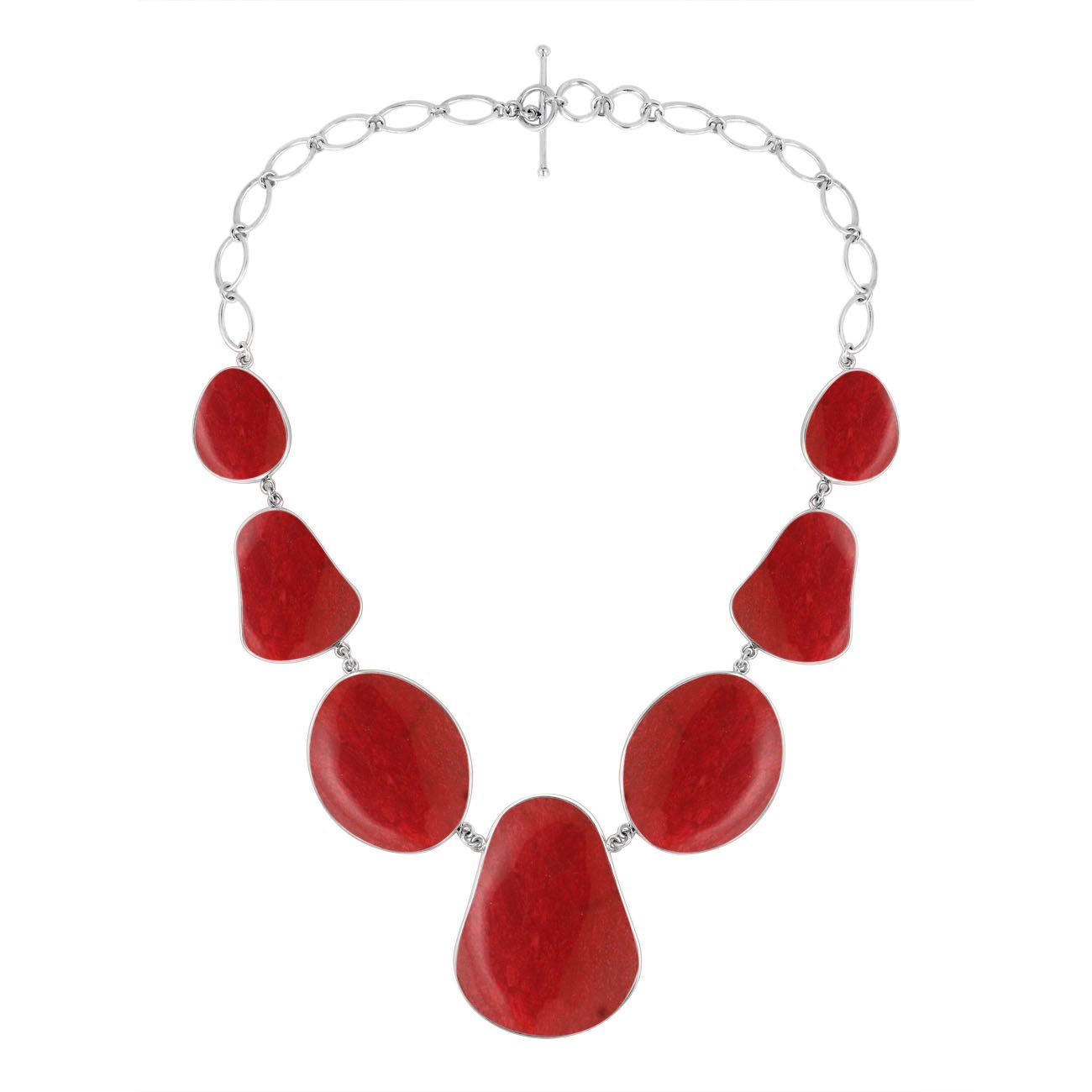 AN-1009-CR Sterling Silver Necklace With Coral by Bali Designs