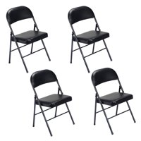 UbesGoo Set of 4 Fabric Upholstered Padded Seat Metal Frame Folding Chair Portable Black