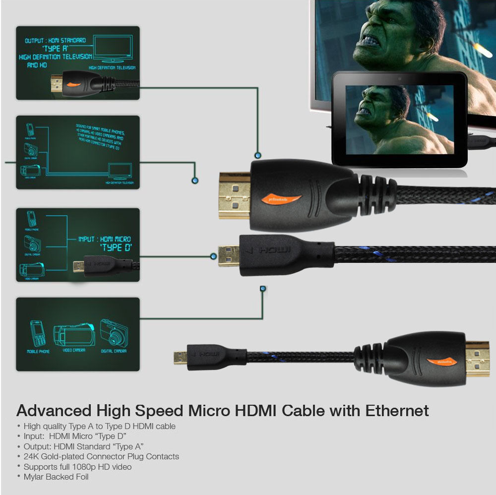 LivEditor Advanced 3ft Micro HDMI to HDMI Cable w/Nylon Net for Blackberry Playbook Tablet - image 3 de 7