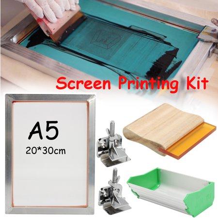 Mrosaa A5 5Pcs/Set DIY Screen Printing Kit Aluminum Frame+Hinge  Clamp+Emulsion Coater+Squee