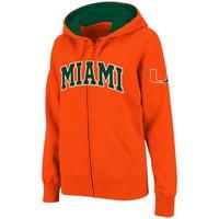 Miami Hurricanes Stadium Athletic Women's Arched Name Full-Zip Hoodie - Orange