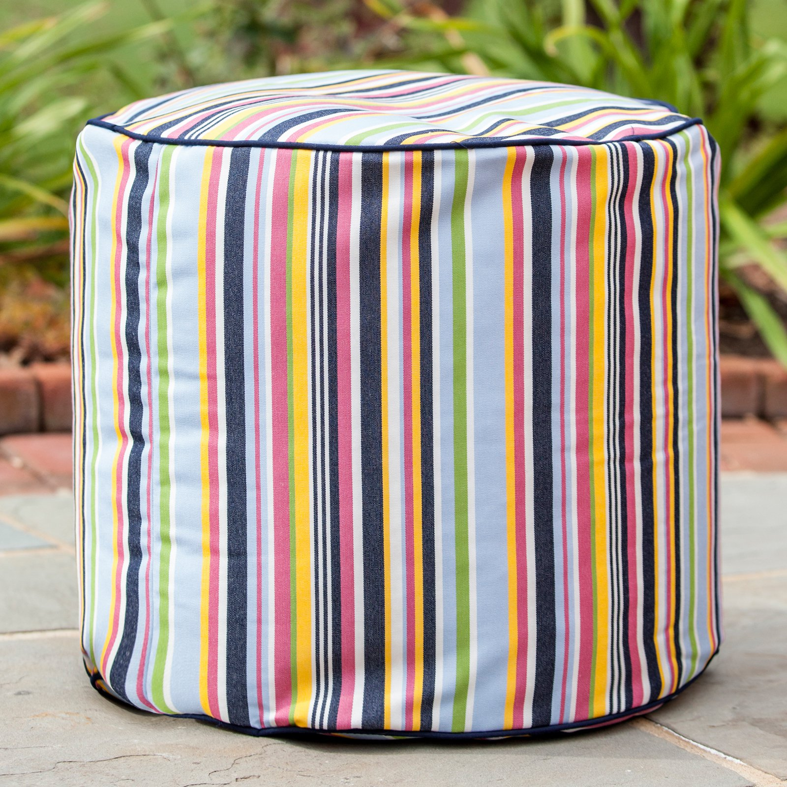 Gold Medal 19 x 17 in. Sunbrella Outdoor/Indoor Weather Resistant Pouf - Steeplechase Malibu