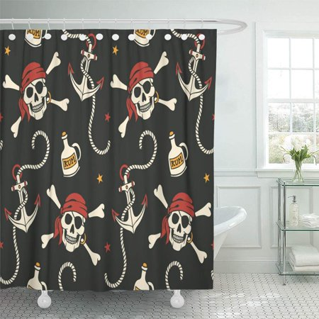 KSADK Pirate with Anchor and Skulls Rum Cartoon Bottle Halloween Sailor Abstract Alcohol Shower Curtain Bath Curtain 66x72 inch