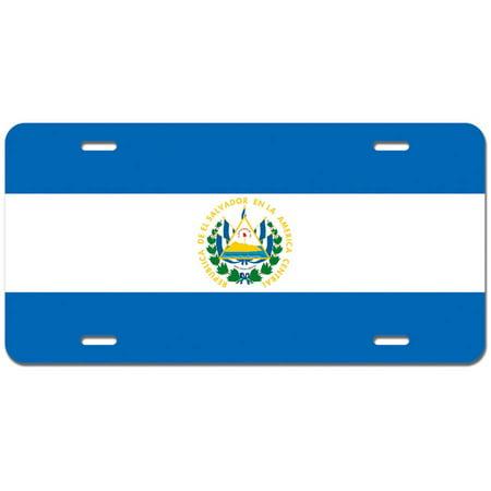 El Salvador Flag Novelty Metal Vanity License Tag Plate
