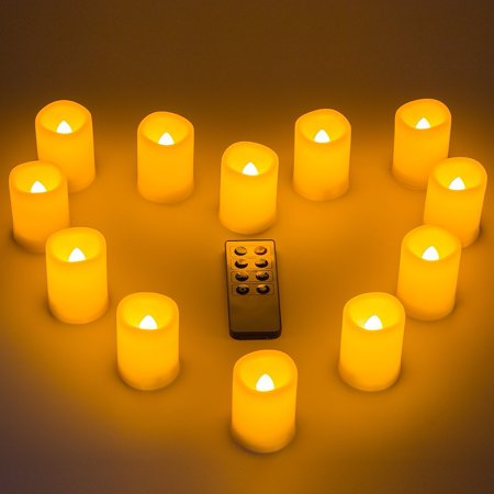 Kohree LED Votive Unscented Battery Powered Candles Flameless Pillar Candles With Remote Control Timer 12-pack