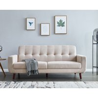 """Mid Century Modern Couch, Beige Loveseat Fabric Sofa for Small Spaces, Rolled-Arm Upholstered Sofas with Solid Wood Frame, Tufted Loveseat Sofa Couch for Living Room and Office, 79""""W,L1158"""