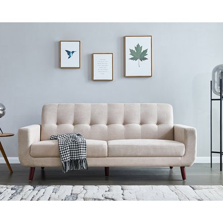 Clearance Beige Sofas For Living Room Mid Century Modern Sectional Fabric Sofa Small Es Rolled Arm Upholstered With Solid Wood Frame