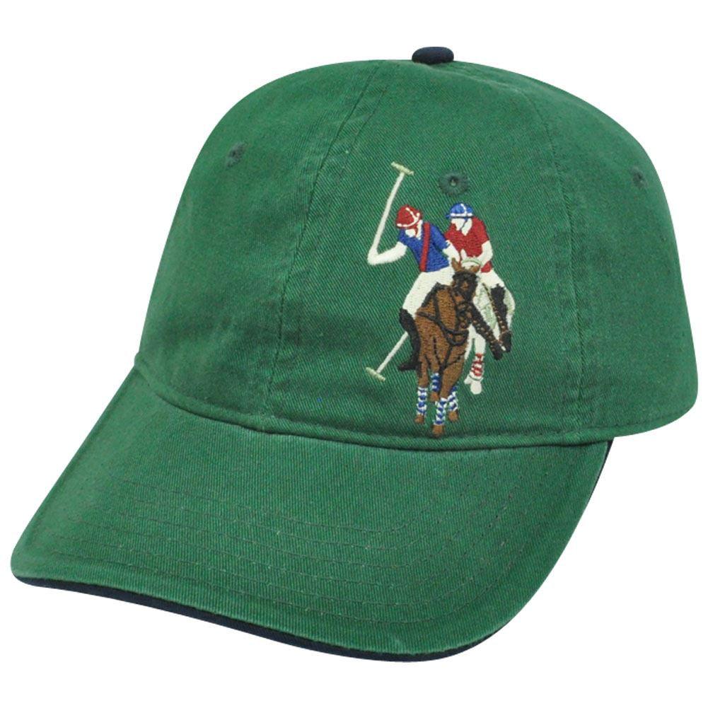 US Polo Association Assn Mens Tonal Horse Logo Garment Wash Relax Hat Cap Green
