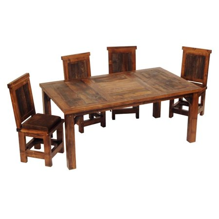 Rustic Wood Dining Table W 4 Upholstered Chair 60 In L