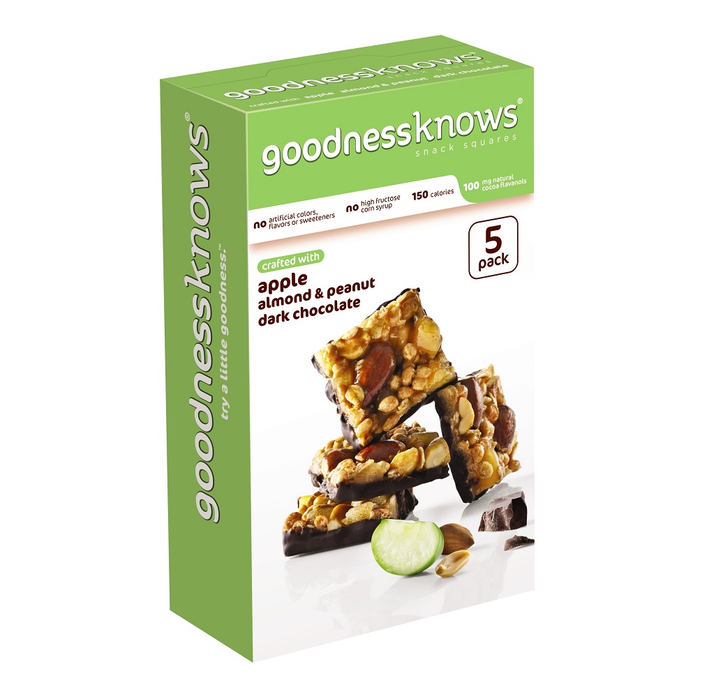 goodnessknows Apple, Almond, Peanut and Dark Chocolate Snack Squares, 5 Pack