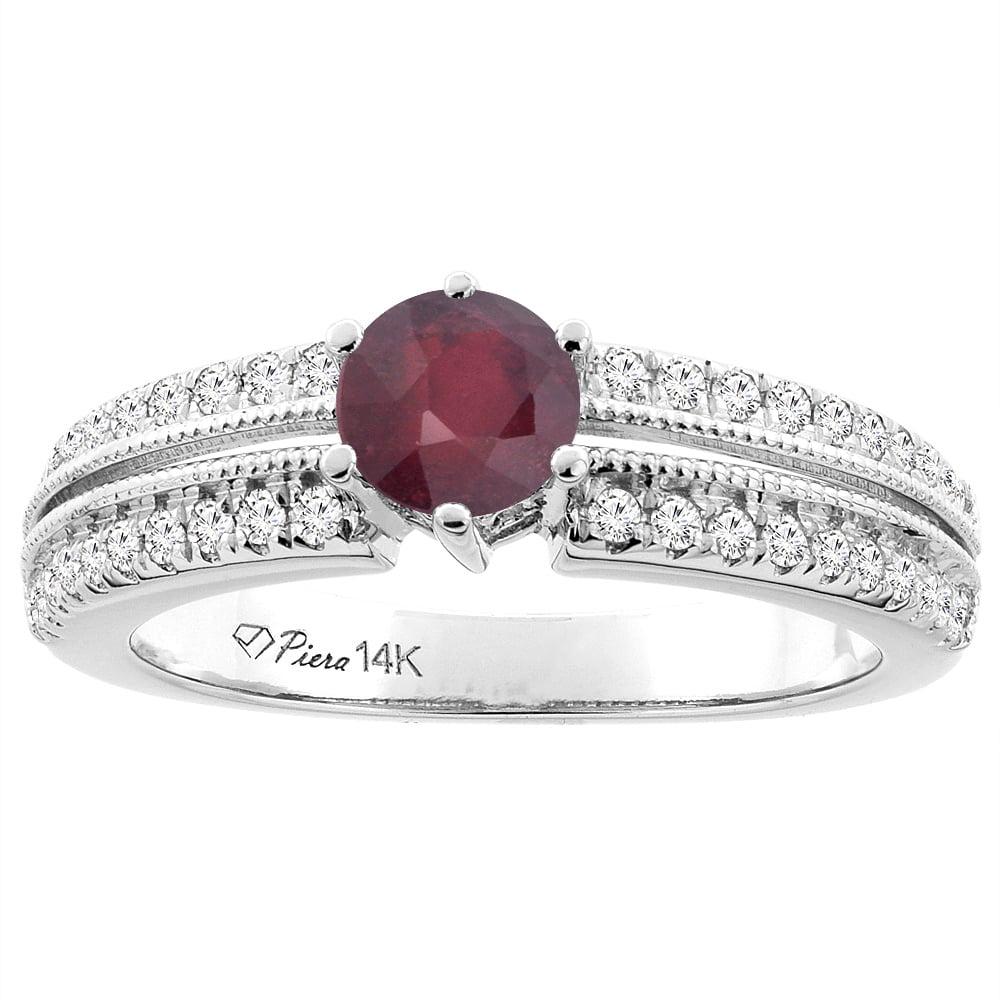 14K White Gold Enhanced Ruby & Genuine Diamond Ring Round 6 mm, size 6 by Gabriella Gold