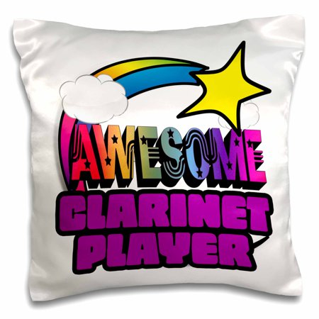 3dRose Shooting Star Rainbow Awesome Clarinet Player - Pillow Case, 16 by
