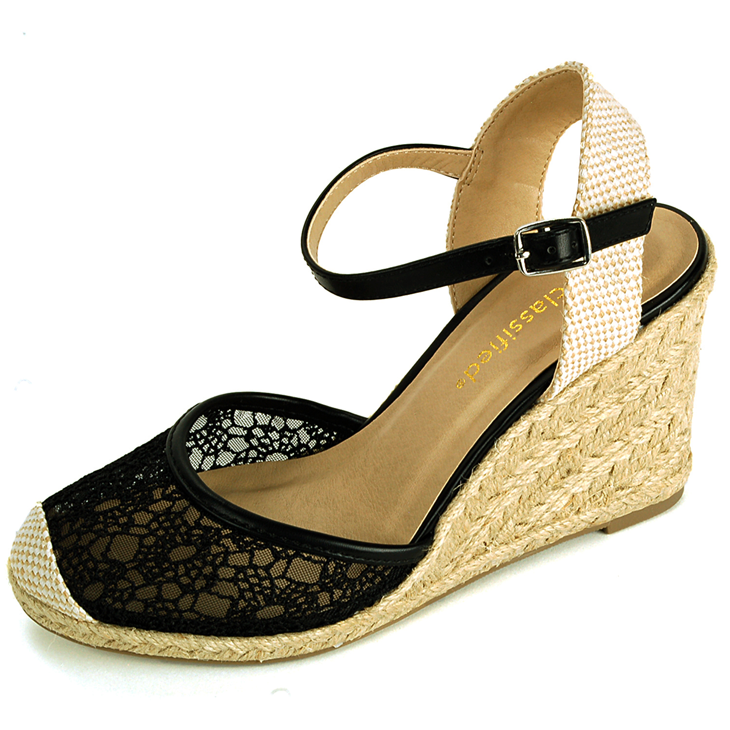Womens Wedge Heels Platform Shoes Braided Wicker Lace Design Ankle Strap Sandals Black Size 8.5