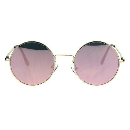 Pink Reflective Mirror Lens Round Circle Lens Hippie Gold Frame Eye (Circle Glasses Frames)
