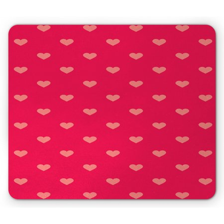Coral Wrapping Paper (Hearts Mouse Pad, Pastel Heart Shaped Spots Fashionable Valentine Gift Wrapping Pattern Dotty, Rectangle Non-Slip Rubber Mousepad, Dark Pink and Coral, by)