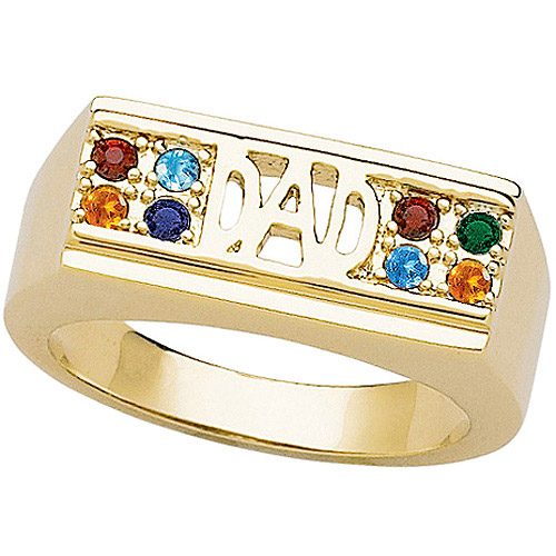 Personalized Dad Family Birthstone Gold-Plated Ring
