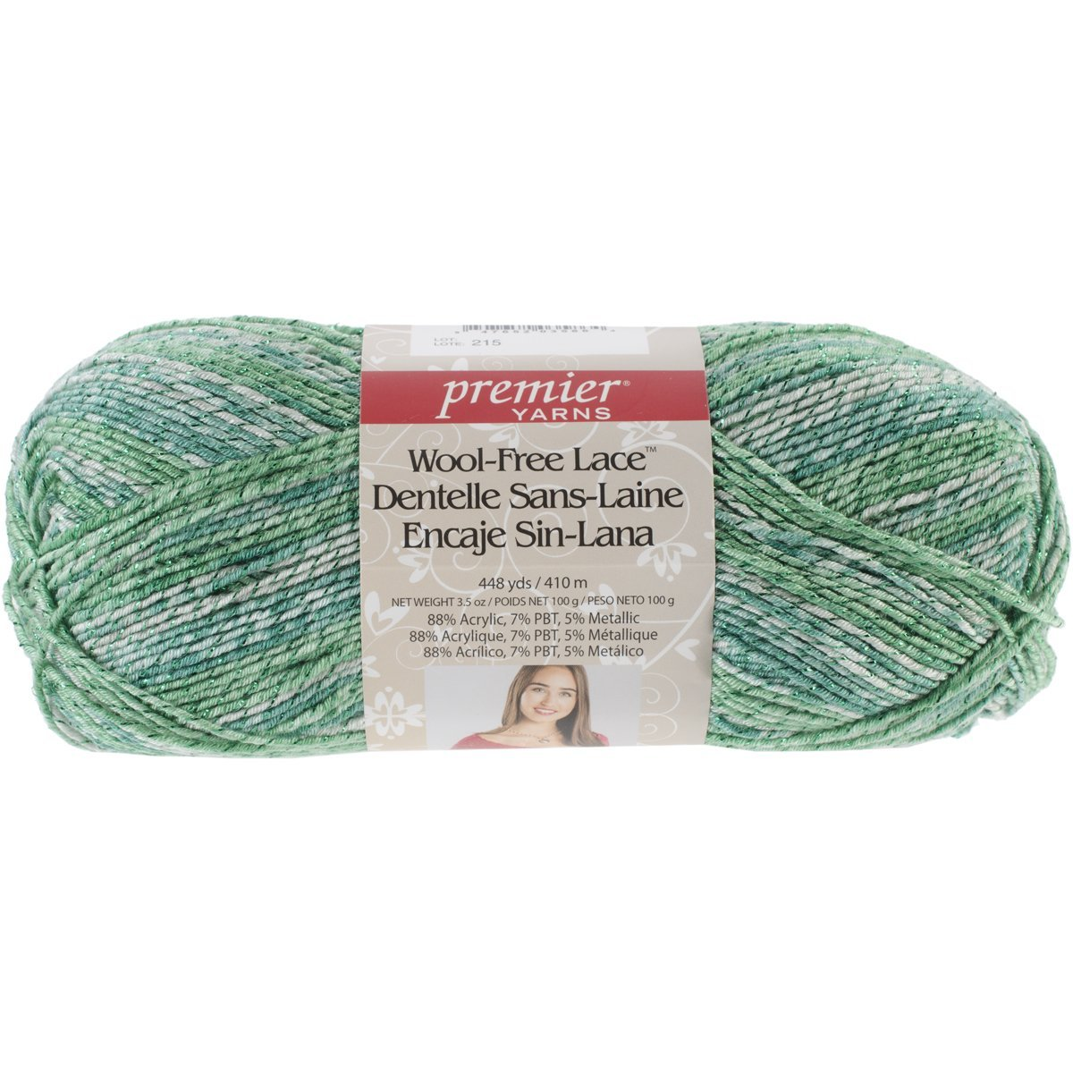 Wool-Free Lace Yarn, Holiday Pine, Combines colorful combinations with a strand of metallic thread By Premier Yarns Ship from US