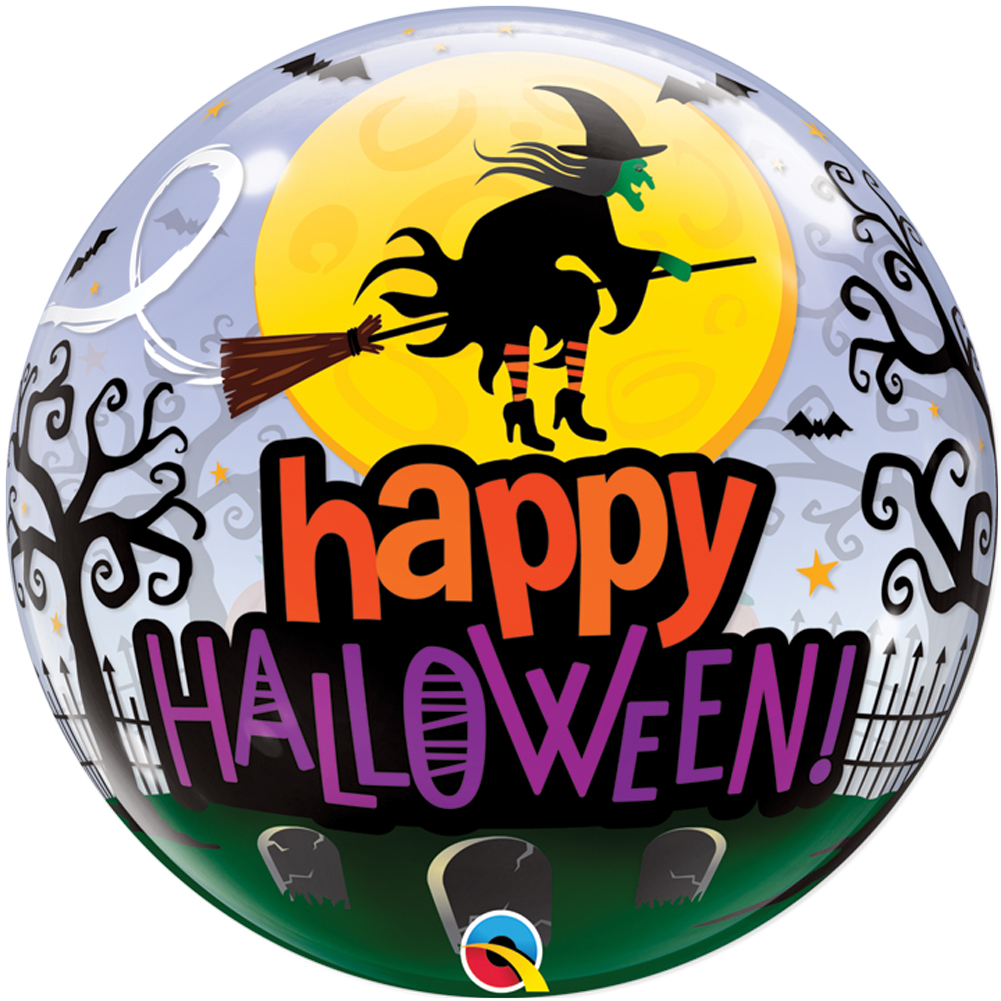 "Qualatex Happy Halloween Spooky Scene Witch 22"" Bubble Balloon"
