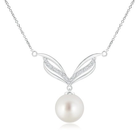 Mother's Day Jewelry - South Sea Cultured Pearl Angel Wings Necklace with Diamonds in 14K White Gold (10mm South Sea Cultured Pearl) - SP0987SSPRD-WG-AAA-10