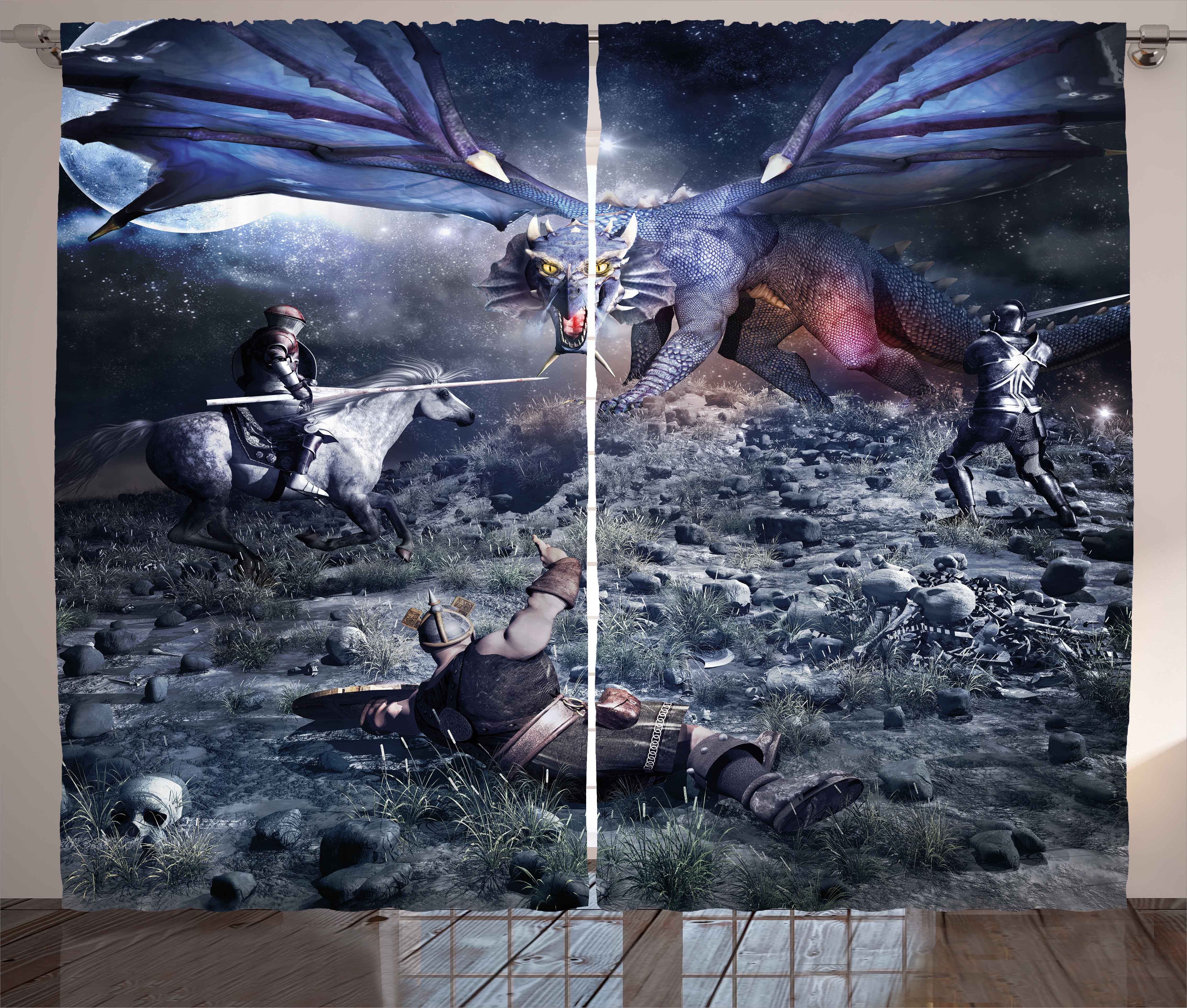 Fantasy Curtains 2 Panels Set, Dragon Fighting With