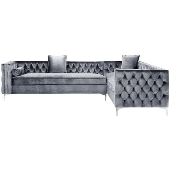 Wondrous Brika Home 120 Velvet Tufted Right Facing Sectional In Gray Ibusinesslaw Wood Chair Design Ideas Ibusinesslaworg